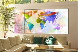 artwork for the office. Office Decor World Map Print On Canvas Wall Art Artwork Large Home Decoration 5 Panel For The