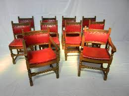 set 10 arts crafts oak chairs set of ten oak and leather upholstered dining chairs