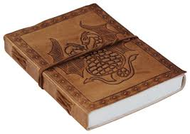 genuine handmade leather journal personal notebook in antiqued golden brown double dragon embossed leather travel diaries