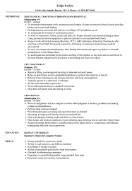 Craftsman Resume Samples Velvet Jobs