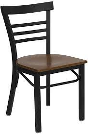 hercules series black ladder back metal restaurant chair cherry wood seat