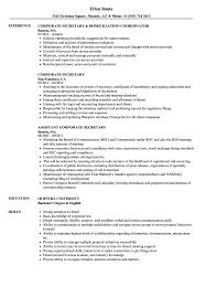 Secretary Resume Sample Corporate Secretary Resume Samples Velvet Jobs 46