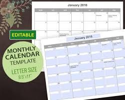 Calendar Template Pdf Cool Editable Calendar Templates Editable PDF Printable Calendar Etsy