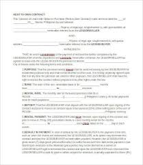 Free Simple Lease Agreement Form Awesome Rent To Own Contract 48 Free Word PDF Documents Download Free