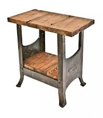 vintage industrial simmons metal side table. Repurposed Vintage American Industrial Stationary Side Table With Brushed Metal Cast Iron Base Containing A Reclaimed Simmons Urban Remains
