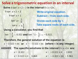 solve a trigonometric equation in an interval