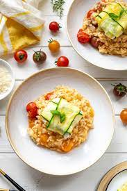 Tomato Risotto with Zucchini Goat Cheese Parcels Recipe