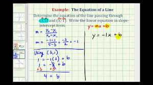 ex 1 find the equation of a line in slope intercept form given two points