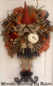 Primitive Halloween Burlap and Mesh Witch Wreath, Front Door Wreath, Rustic  Halloween, Halloween Decor, Fall Wreath, Witch Decor