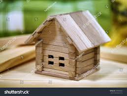 Wooden Cottage Design Design Wooden Cottage Small Childrens Home Stock Photo Edit