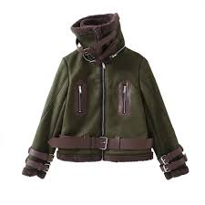 2018 women winter coat short suede leather spliced flocking fur green sml with belt thick jacket