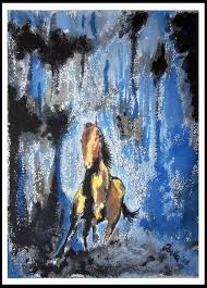 horse running horse water color painting imaginative water painting art