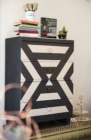 painting furniture ideas color. Graphite And Pure White Chalk Paint® With A Modern Geometric Pattern On Contemporary Dresser Painting Furniture Ideas Color