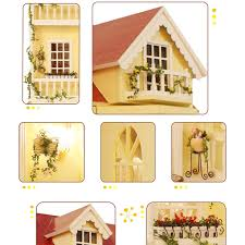 summer models ogrmar wooden dollhouse miniatures diy house kit with led light fairy tale home