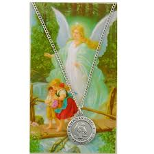 round guardian angel necklace and
