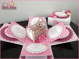 Babygirl Cards Baby Girl Exploding Box Card With Cot Exploding Box Card