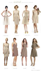 Short neutral bridesmaid dresses in champagne and taupe - dresses are the  best ones color wise