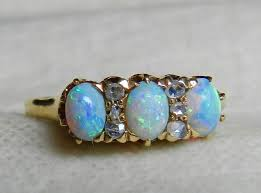 opal ring mine cut diamond opal engagement ring australian blue opal ring antique opal ring 14k semi black opal ring october birthday