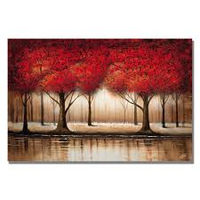 parade of red trees on canvas