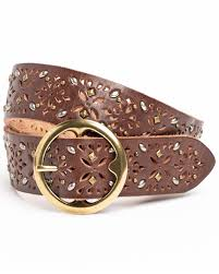 zoomed image shyanne women s studded veg tanned leather belt brown