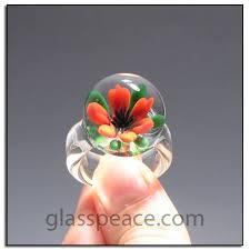 glass flower ring borosilicate 9 5