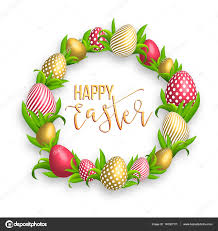 Easter Template Happy Easter Template With Gold Ribbon And Eggs Frame