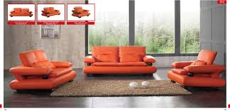 Room Store Living Room Furniture 410 Living Room Set Orange Leather Sofa Loveseat And Chair