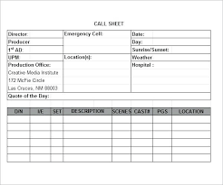 Simple Call Sheet Template Pdf Production Getpicks Co
