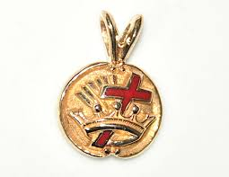 details about vintage solid 10k gold masonic knights templar enamel inlay pendant nice