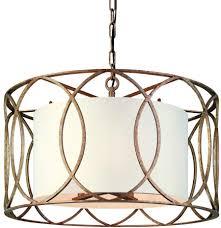 Sausalito 5 Light Pendant Troy Lighting Sausalito 5 Light Chandelier Silver Gold Finish With Hardback Linen Shade