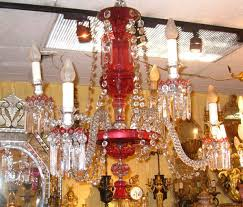 antique ruby red glass chandelier in good condition for in new york ny