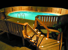 pool deck lighting ideas. Classic Outdoor Pool Design With White Low Voltage Solar Square Deck Lighting Kits, Oak Wood Ideas