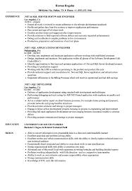 Sql Skills Resumes Net Sql Resume Samples Velvet Jobs
