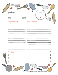 recipe template free free printable recipe page template