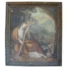 large antique religious framed oil painting on canvas for