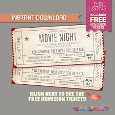 Free Printable Movie Ticket Invitations Movie Night Invitation with FREE Admission Tickets Movie Night 1