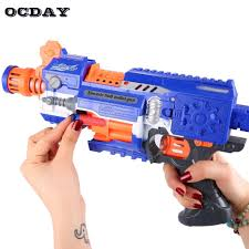 Light Blue Nerf Guns Kids Soft Bullet High Speed Electric Toy Gun With 20pcs Darts Loading 10 Bullets For Nerf Gun Outdoor Funny Toys Children Gift