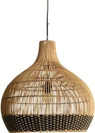 One World Interiors Weave Hanglamp Groot Naturalzwart Rotan