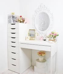 White desk with drawers on both sides Hutch Spinning Acrylic Makeup Organizer Ikea Alex Drawers Drawer Within Vanity Desk With On Both Sides Ideas 13 Peterpanbtcinfo Spinning Acrylic Makeup Organizer Ikea Alex Drawers Drawer Within