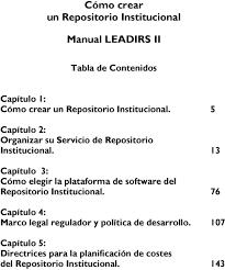 cómo crear un repositorio institucional manual leadirs ii pdf 13 capítulo 3 cómo elegir la plataforma de software del repositorio institucional
