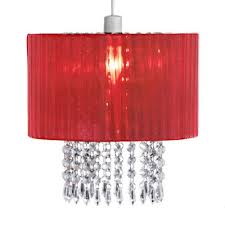 oba pendant shade in red with acrylic droplets