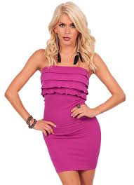 Fitted Bodice Dress Sexy Strapless Ruffled Tiers Bodice Slip On Fitted Seamless Mini