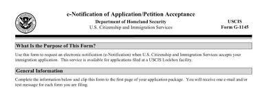 g1145e form g 1145 uscis immigration form