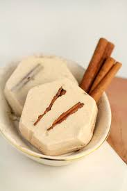 The ground cinnamon in this cinnamon shea butter soap imparts a beautiful  speckled-brown natural