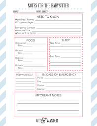 notes sheet template nanny information sheet template