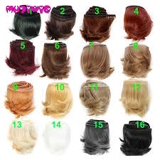 <b>1pieces Extension doll wigs</b> 15*100cm Natural Color Curly doll hair ...
