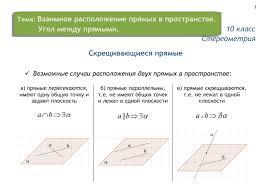 Взаимное расположение прямых в пространстве класс Математика  Взаимное расположение прямых в пространстве На главную · Тема · 10 класс