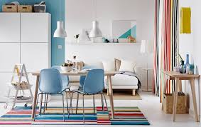 dining living room furniture. Colourful Open Plan Dining And Sitting Room With Light Wood Table Blue Chairs. Living Furniture W