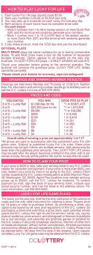 Cash For Life Payout Chart Lucky For Life Dc Lottery