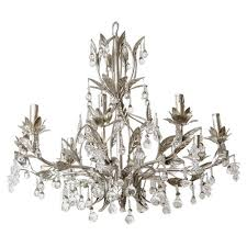 lovely silver leaf and crystal chandelier